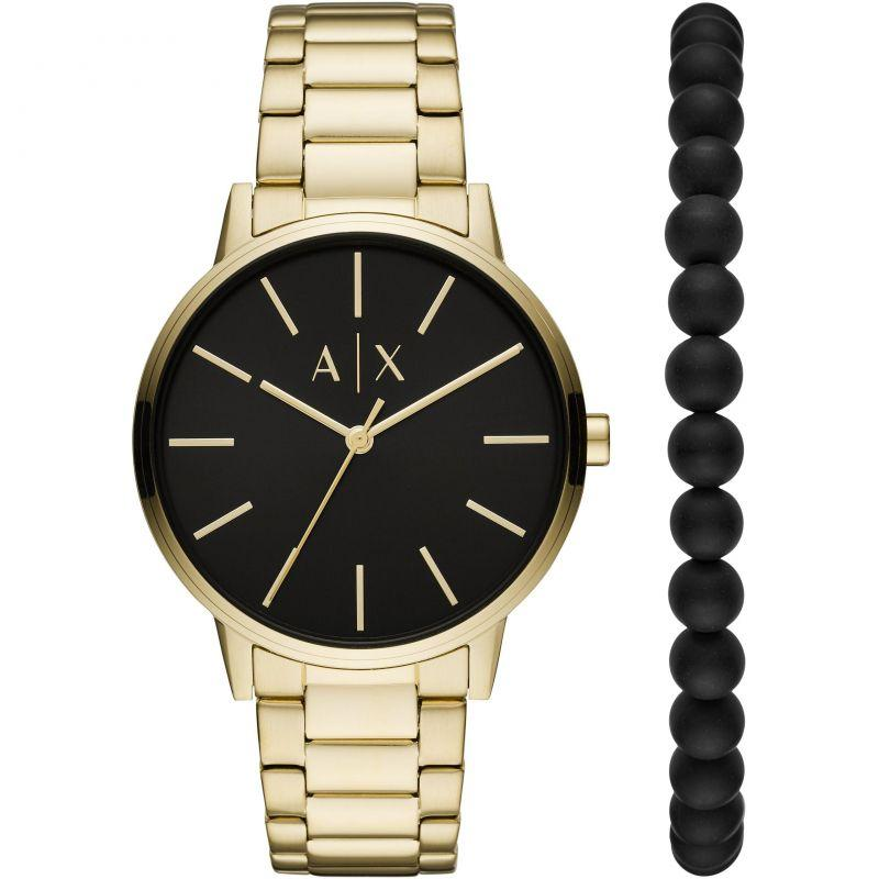 ARMANI EXCHANGE Cayde Gift Set - AX7119, Gold case with Stainless Steel Bracelet