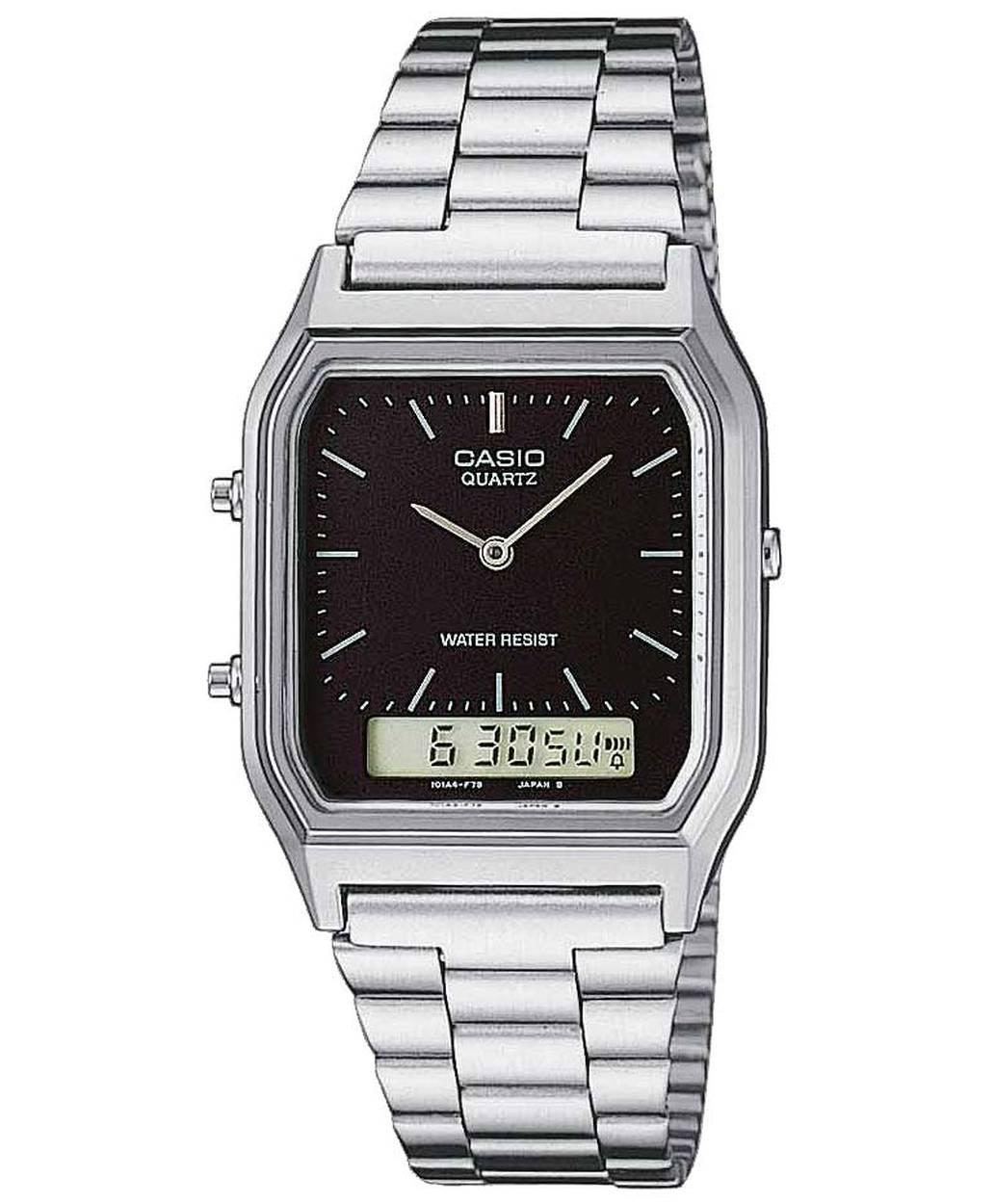 CASIO Collection - AQ-230A-1DM, Silver case with Stainless Steel Bracelet