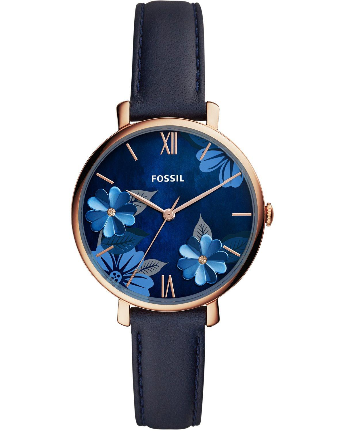 FOSSIL Jacqueline - ES4673, Rose Gold case with Blue Leather Strap