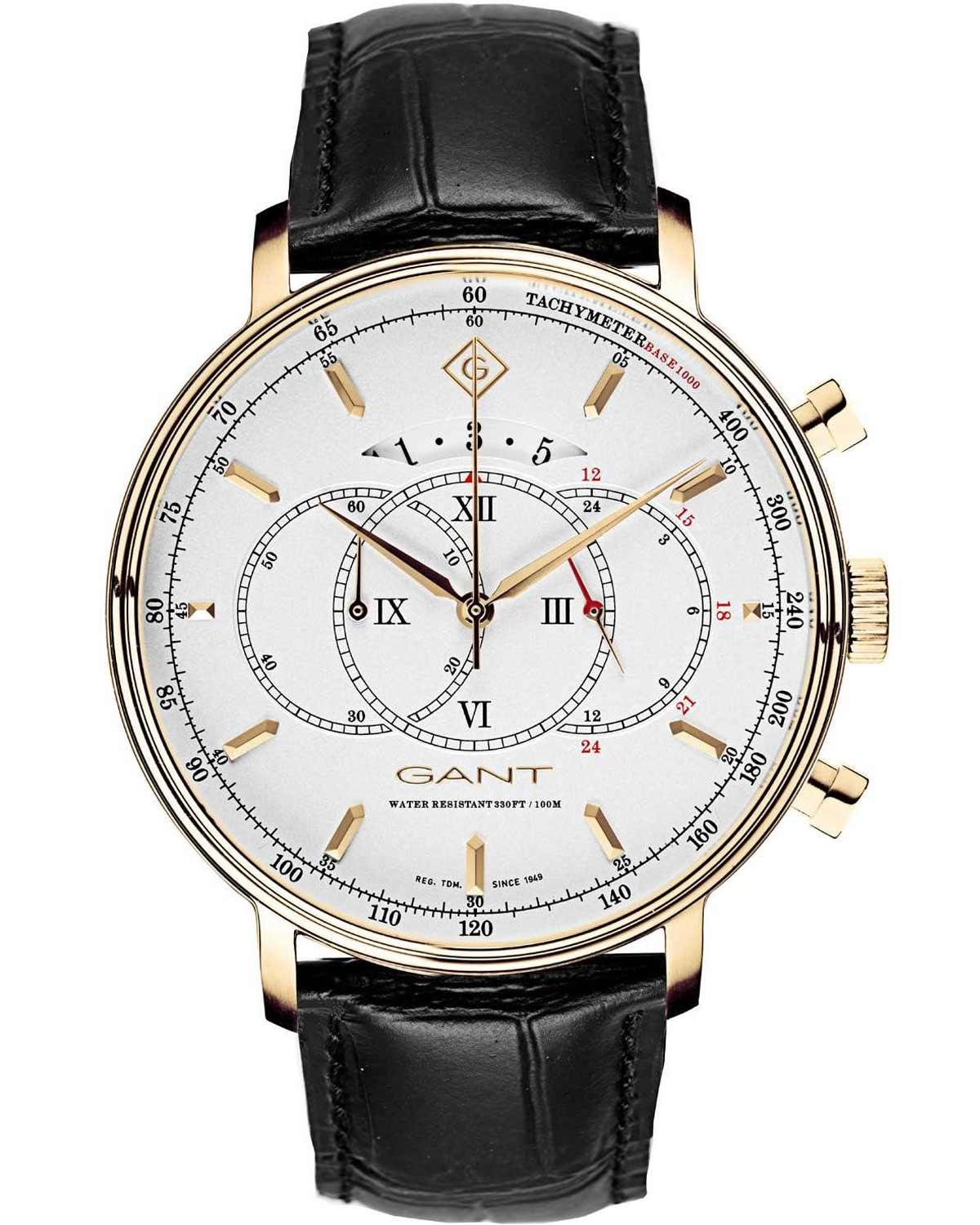 GANT Cameron II Chronograph Men's - G103003, Gold case with Black Leather Strap