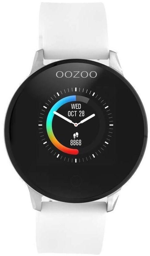 OOZOO Smartwatch - Q00110, Silver case with White Rubber Strap