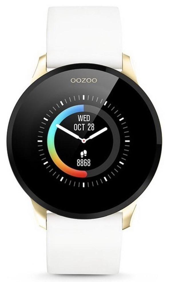OOZOO Smartwatch - Q00111, Gold case with White Rubber Strap