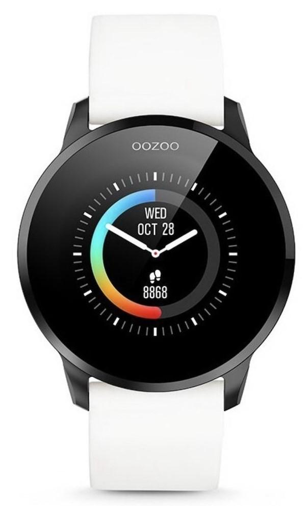 OOZOO Smartwatch - Q00112, Black case with White Rubber Strap