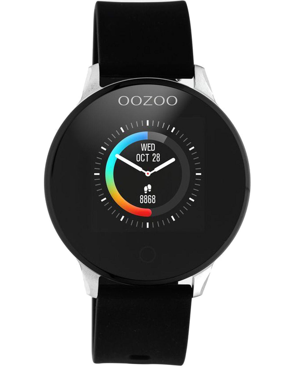 OOZOO Smartwatch - Q00113, Silver case with Black Rubber Strap
