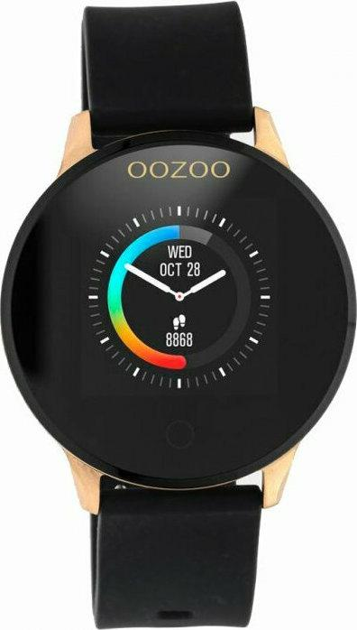 OOZOO Smartwatch - Q00114, Rose Gold case with Black Rubber Strap