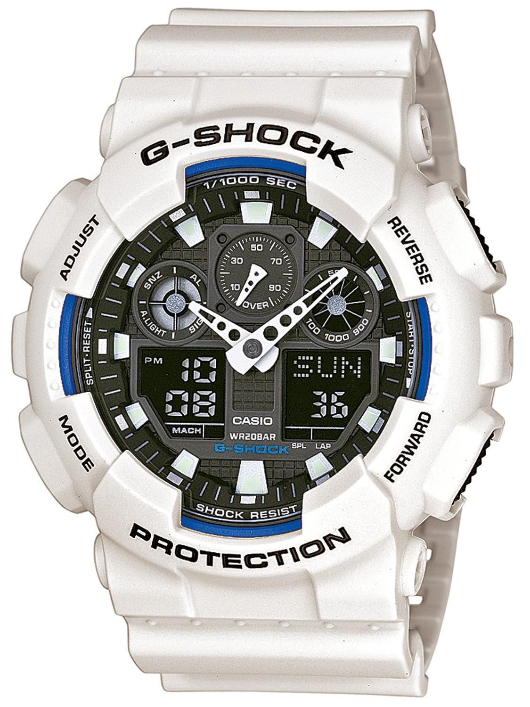 CASIO G-Shock - GA-100B-7AER White case, with White Rubber Strap