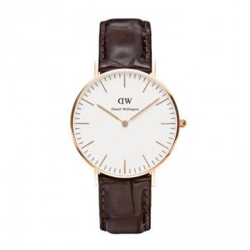 DANIEL WELLINGTON Classic York - 0510DW Rose Gold Plated case, with Brown Leather strap
