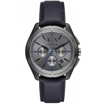ARMANI EXCHANGE Chronograph Mens - AX2855,  Black case with Blue Leather Strap