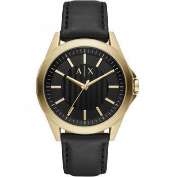 ARMANI EXCHANGE Drexler Mens - AX2636,  Gold case with Black Leather Strap