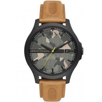 ARMANI EXCHANGE  Mens - AX2412,  Black case with Brown Leather Strap
