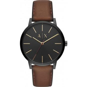 ARMANI EXCHANGE  Mens - AX2706,  Black case with Brown Leather Strap