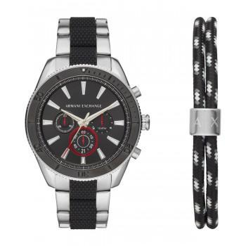 ARMANI EXCHANGE Mens Chronograph  Gift Set - AX7106, Silver case with Stainless Steel Bracelet