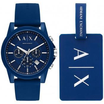 ARMANI EXCHANGE Outerbanks Chronograph Gift Set - AX7107, Blue case with Blue Rubber Strap