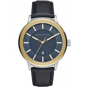 ARMANI EXCHANGE Woodgrain Mens - AX1463,  Silver case with Blue Leather Strap