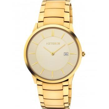 AZTORIN  Casual Mens - A054.G246,  Gold case with Stainless Steel Bracelet
