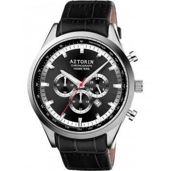 AZTORIN  Chronograph Mens - A047.G198,  Silver case with Black Leather Strap