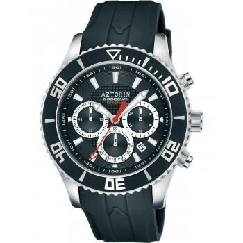 AZTORIN  Chronograph Mens - A057.G277,  Silver case with Black Rubber Strap