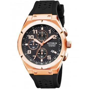 AZTORIN Chronograph Mens - A079.G363,  Rose Gold case with Black Rubber Strap