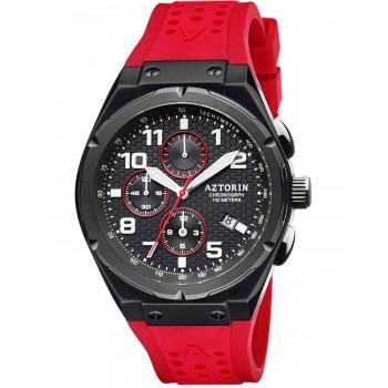 AZTORIN Chronograph Mens - A079.G365,  Black case with Red Rubber Strap