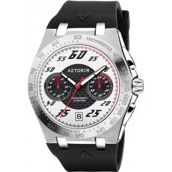 AZTORIN Chronograph Mens - A081.G371,  Silver case with Black Rubber Strap