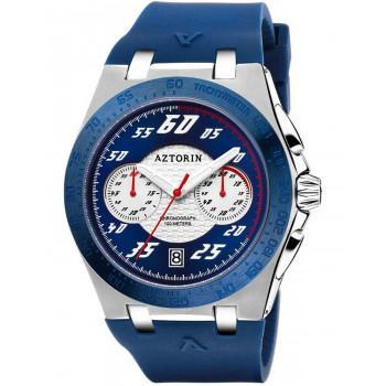 AZTORIN Chronograph Mens - A081.G372,  Silver case with Blue Rubber Strap
