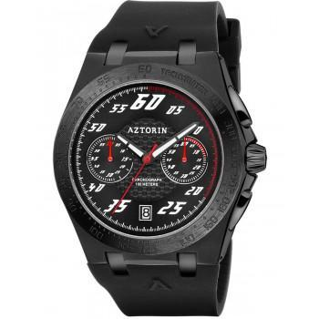 AZTORIN Chronograph Mens - A081.G373,  Black case with Black Rubber Strap