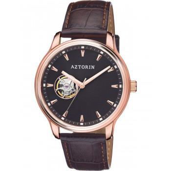 AZTORIN  Classic Automatic Mens - A072.G345,  Rose Gold case with Brown Leather Strap