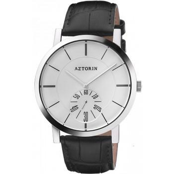 AZTORIN  Classic Mens - A041.G163,  Silver case with Black Leather Strap