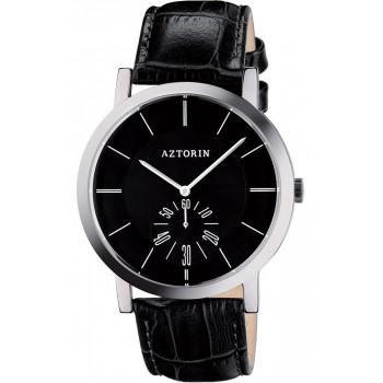 AZTORIN  Classic Mens - A041.G164,  Silver case with Black Leather Strap