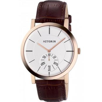 AZTORIN  Classic Mens - A041.G166,  Rose Gold case with Brown Leather Strap