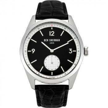 BEN SHERMAN Carnaby Driver Mens  - WB052WB,  Silver case with Black Leather Strap