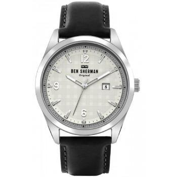 BEN SHERMAN  Carnaby - WB040B  Silver case with Black Leather Strap