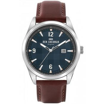 BEN SHERMAN  Carnaby - WB040T  Silver case with Brown Leather Strap