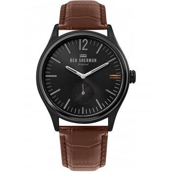 BEN SHERMAN  Harrison City - WB035T  Black case with Brown Leather Strap