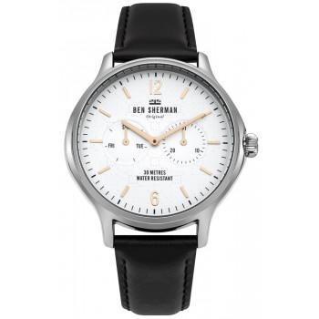 BEN SHERMAN Kensington Professional - WB017B,  Silver case with Black Leather Strap