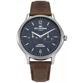 BEN SHERMAN Kensington Professional - WB017UBR,  Silver case with Brown Leather Strap