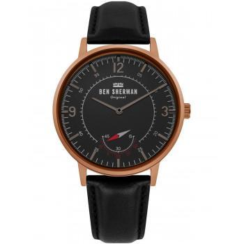 BEN SHERMAN  Portobello Heritage - WB034B  Rose Gold case with Black Leather Strap