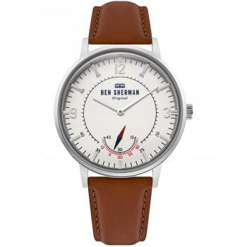 BEN SHERMAN  Portobello Heritage - WB034T  Silver case with Brown Leather Strap