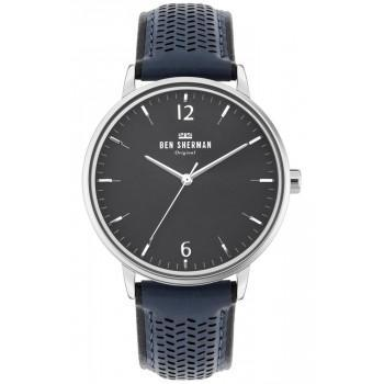 BEN SHERMAN  Portobello Social  - WB038U  Silver case with Blue Leather Strap