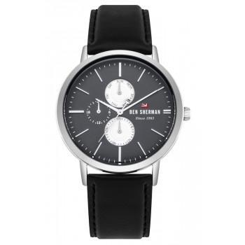 BEN SHERMAN The Dylan Multifunction - WBS104B,  Silver case with Black Leather Strap