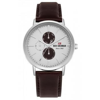 BEN SHERMAN The Dylan Multifunction - WBS104BR,  Silver case with Brown Leather Strap