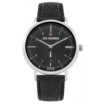 BEN SHERMAN The Dylan Professional - WBS102BB,  Silver case with Black Leather Strap