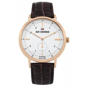 BEN SHERMAN The Dylan Professional - WBS102TRG,  Rose Gold case with Brown Leather Strap