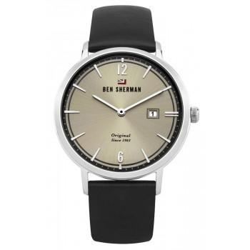 BEN SHERMAN The Dylan Social - WBS101B,  Silver case with Black Leather Strap