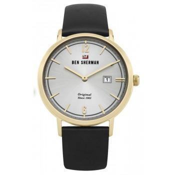 BEN SHERMAN The Dylan Social - WBS101BG,  Gold case with Black Leather Strap