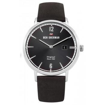 BEN SHERMAN The Dylan Social - WBS101BR,  Silver case with Black Leather Strap