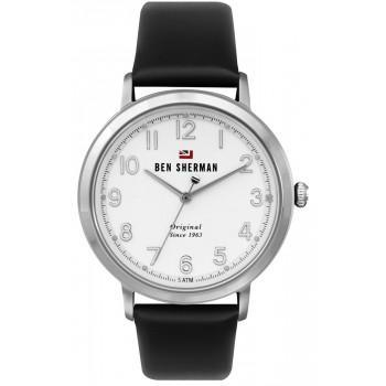 BEN SHERMAN  The Dylan - WBS113B  Silver case with Black Leather Strap