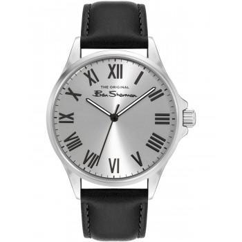 BEN SHERMAN  The Original - BS050B  Silver case with Black Leather Strap
