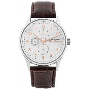 BEN SHERMAN The Originals - BS021BR  Silver case with Brown Leather Strap