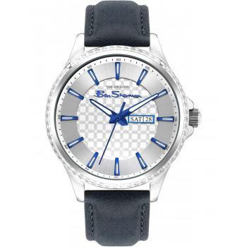 BEN SHERMAN  The Originals  - BS029U  Silver case with Blue Leather Strap